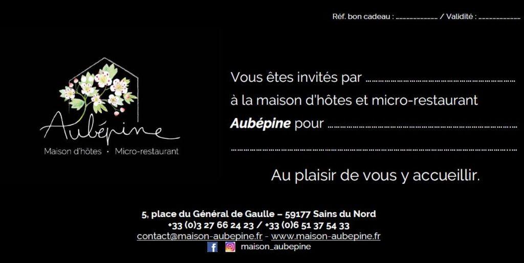 Carte cadeau maison d'hôtes Aubépine